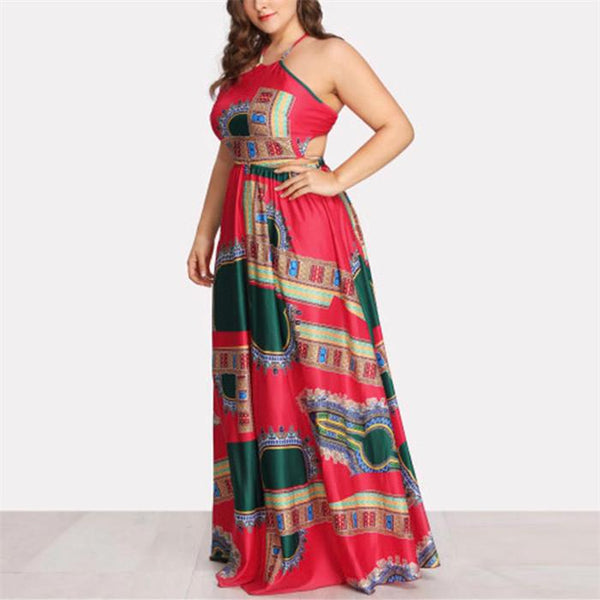 Plus-size sexy backless printing dress