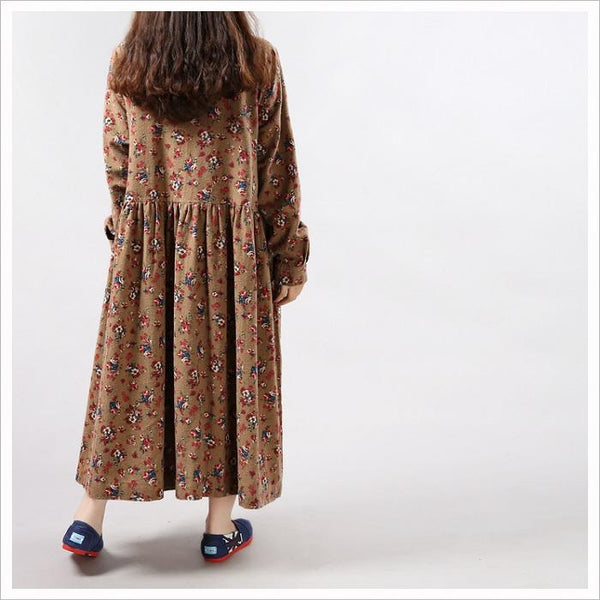 Ethnic Style Printed Cotton And Linen Loose Midi Dress