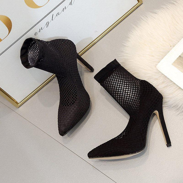 Stiletto Heel Slip-On Pointed Toe Banquet Hollow Boots