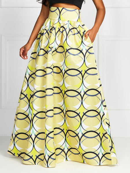 Floor-Length Expansion Print Western High Waist Skirt