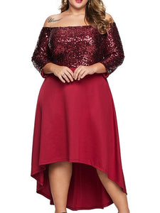 Sequins Ankle-Length Off Shoulder Regular Cold Shoulder Dress
