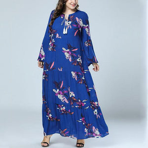 Plus-size Long-sleeved printed dresses