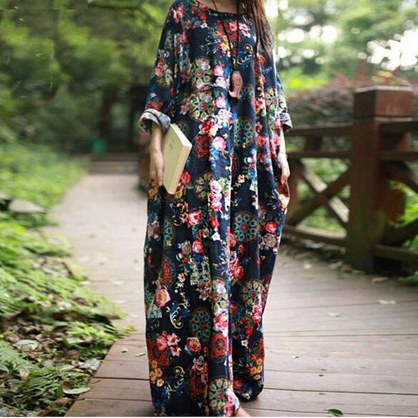 Cotton Printed Fabric Stitching Hood Loose Long Casual Dress Vintage