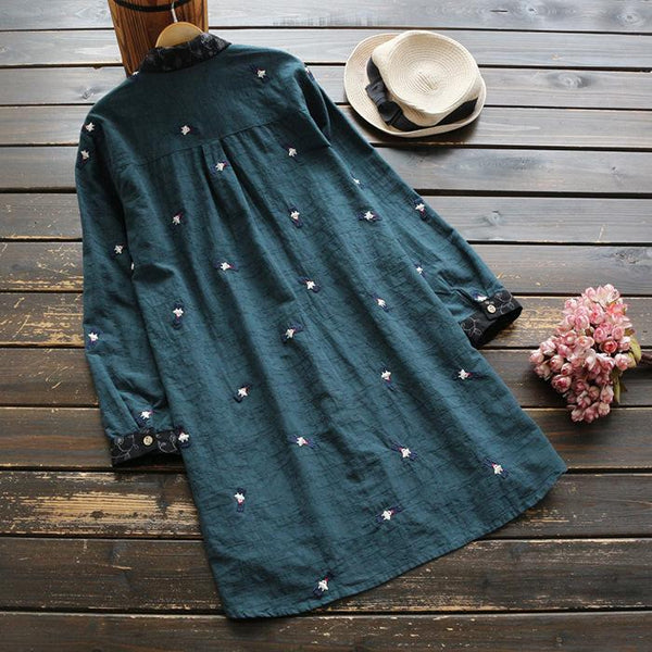Fashionable Loose Cotton Linen Embroidered Long-Sleeve Shirt
