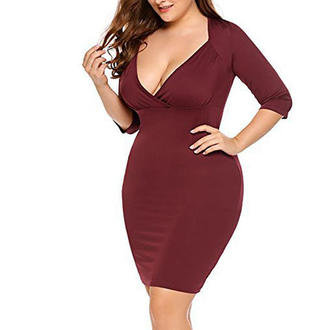 Pure Colour Deep-V Sexy Dress