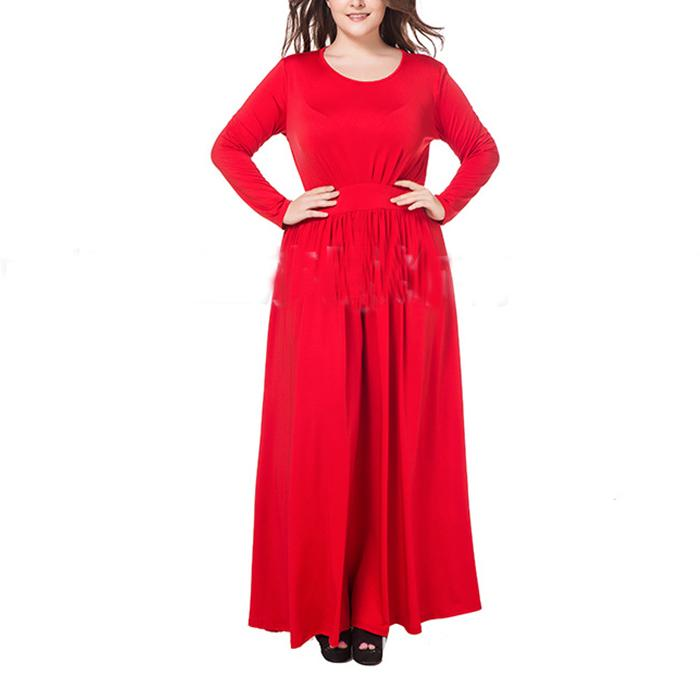 Plus-Size Sexy Solid Color Long Sleeves Dress