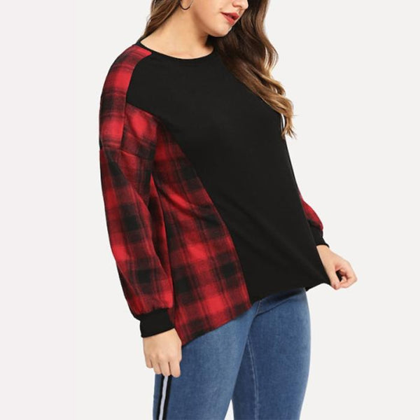Plus-Size Lattice Splicing Bat Long Sleeve T-Shirt