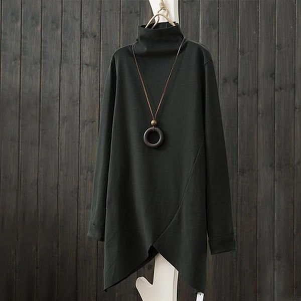 Pure color high-collar irregular long sweatshirt