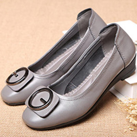 Leather soft bottom slip lazy shoes women