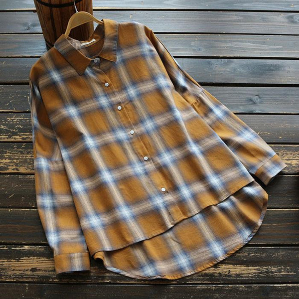 Vintage plaid long-sleeved shirt