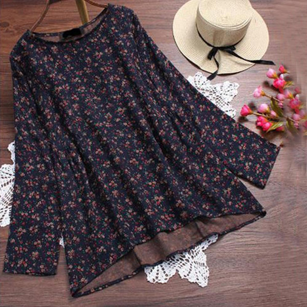 Loose Cotton And Linen Printed Round-Neck Blouse