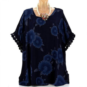 Plus-Size Printed Lace Loose Five-Point Sleeves Shirt