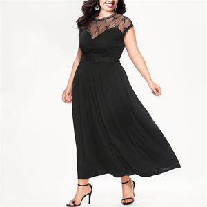 Plus-Size Lace Mesh Short Sleeves Sexy Dress