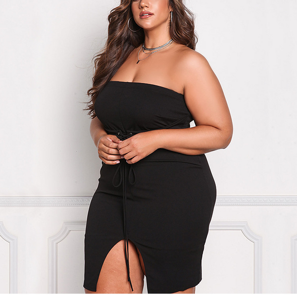 Plus-size knit splicing pure color sexy breast wipe dress