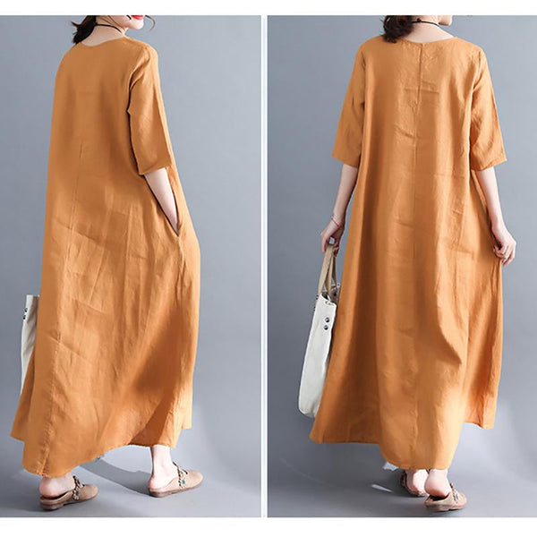 Cotton And Hemp Large Size Loose Embroidered Dress