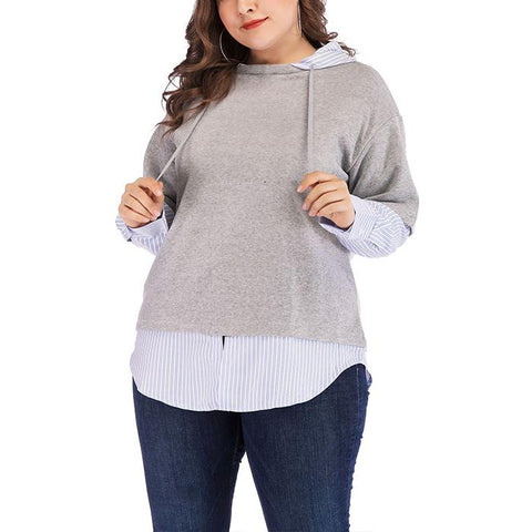 Plus-Size Fashion Long Sleeve Splicing Hoodies