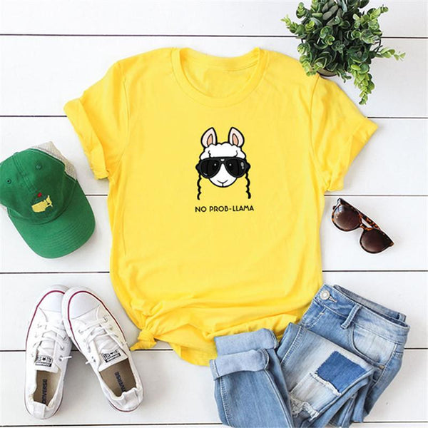 Interesting sheep printing short sleeve T-shirt