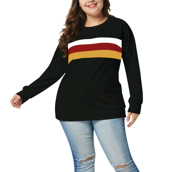 Fashion Large Size Striped Long Sleeved Sweatshirt