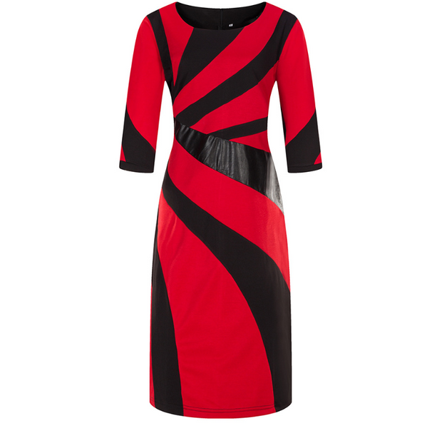 Plus-Size Sexy Contrasting Color Splicing Dress