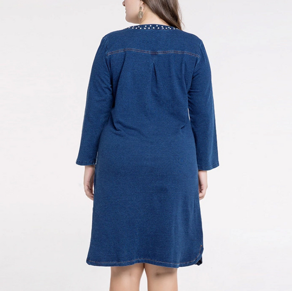 Plus-size casual pure color jeans dress