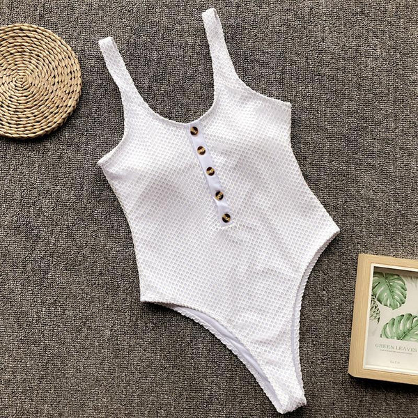 Female Pure Color Button Sexy Grid Swimsuit