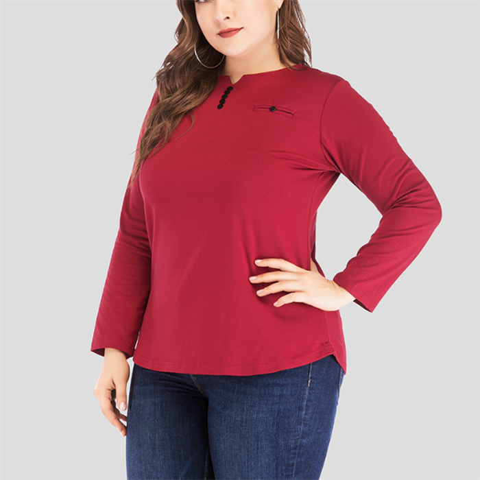 Plus-Size Loose Casual Long Sleeves Solid Color T-Shirt