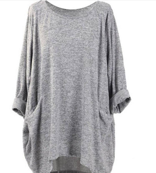 Fashion Plain-Colour Leisure Round Collar T-Shirt