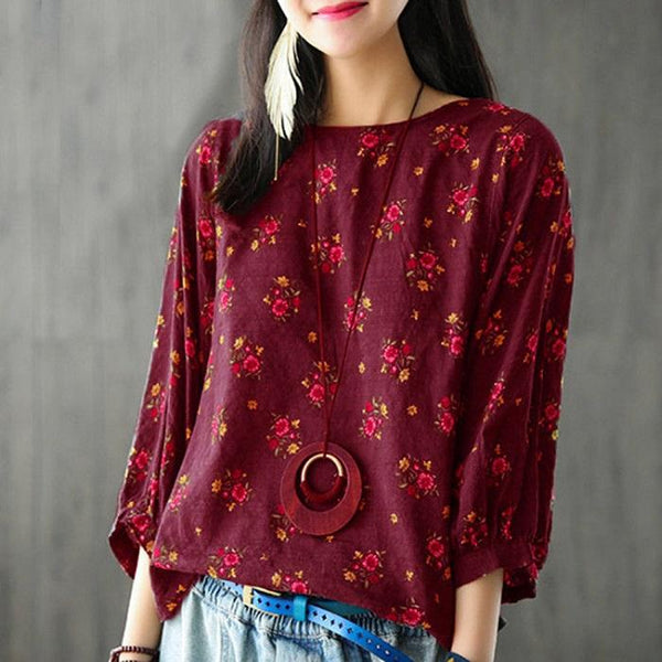 Vintage Printed Three-Sleeve Lantern Sleeve Loose T-Shirt