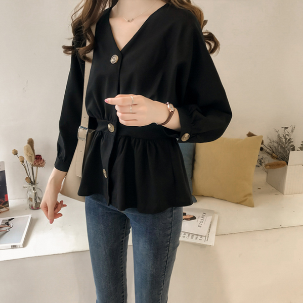 Pure Color V Neck Long Sleeved Shirt