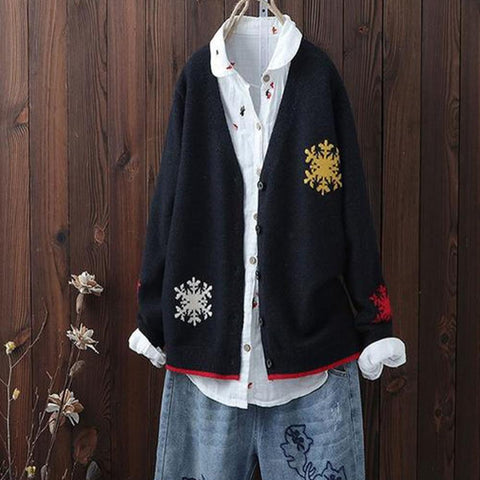 Joker Embroidered Women's Short Knit Cardigan
