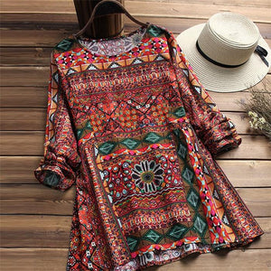 Cotton and linen printed loose-sized long-sleeved shirts