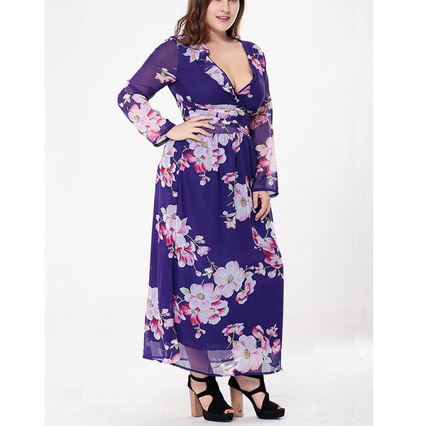 Plus-Size Sexy Fashionable Prints Long Sleeves Dress