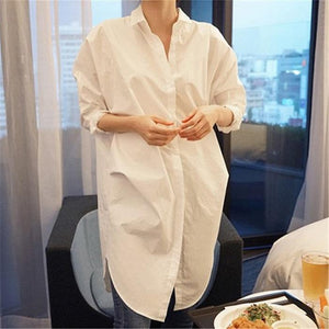 Loose Mid-Length Loose Loose Long-Sleeved White Shirt