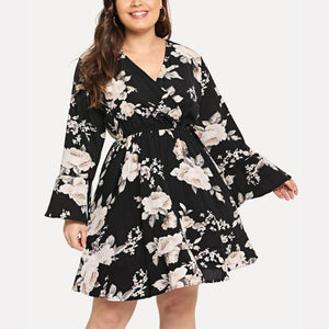 Plus-Size V-Neck Printed Chiffon Long Sleeve Mini Dress