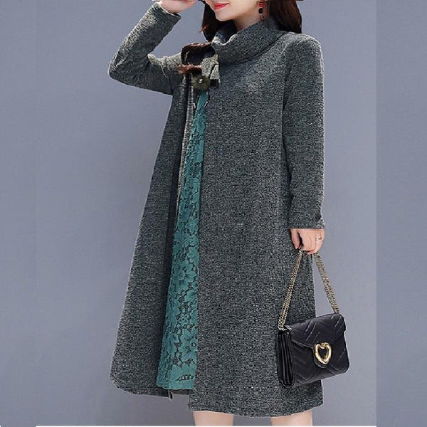 Temperament Ladies Loose High Collar Stitching Lace Bottom Dress