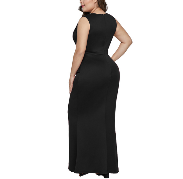 Plus-size pure color sexy v-neck sleeveless high-waisted irregular flouncing dress