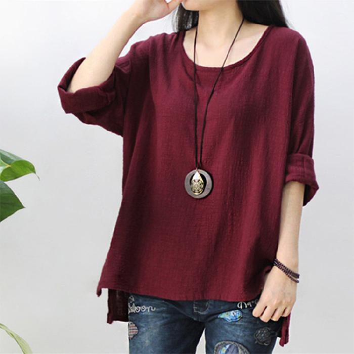 Loose bamboo knot cotton jerseys shirt
