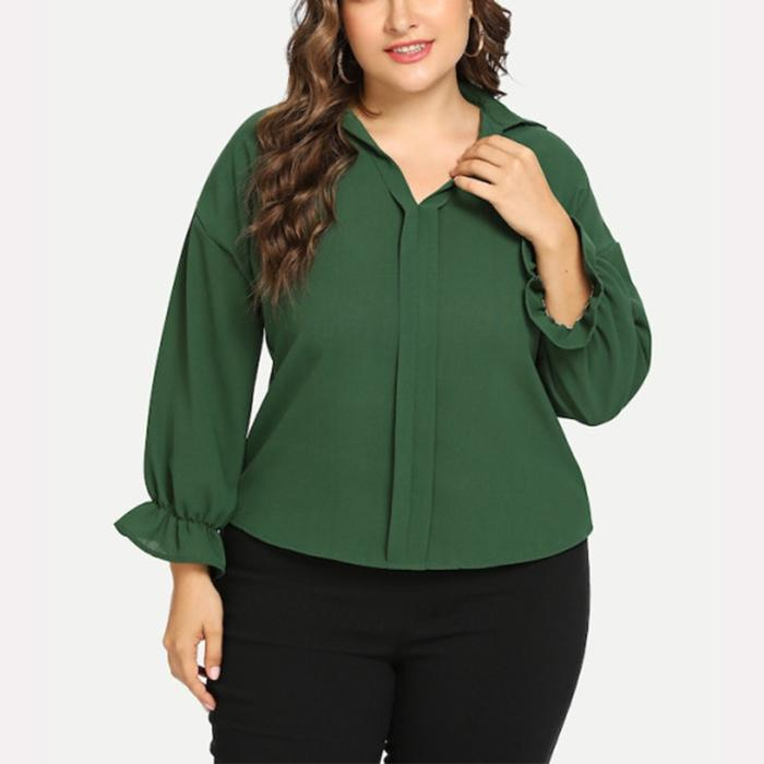 Plus-size loose flared sleeve long sleeve solid color shirt
