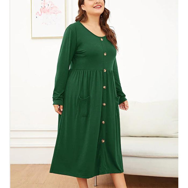 Plus-Size Solid Color Round Collar Long Sleeve Pocket Dress