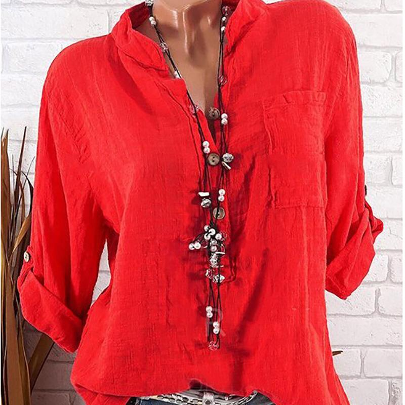 Pure color casual loose long sleeves V collar T-shirt