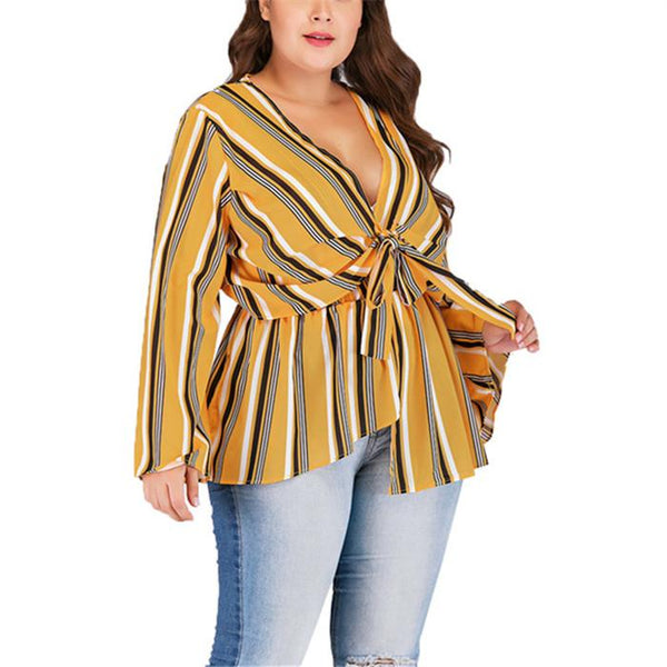Plus-Size V-Neck Long Sleeves Splicing Color Stripes T-Shirt