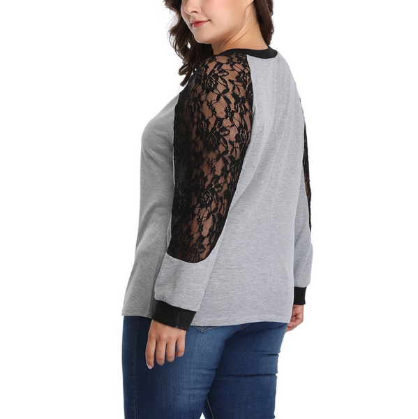 Plus-Size Sexy Lace Splicing Long Sleeves T-Shirt