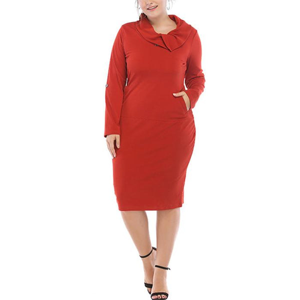 Plus-Size Pure Color Loose Long Sleeve Dress