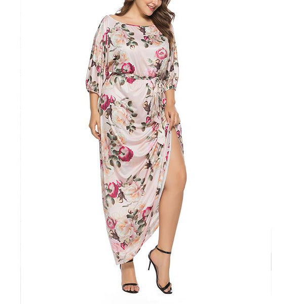 Plus-size sexy mid-sleeve print dress
