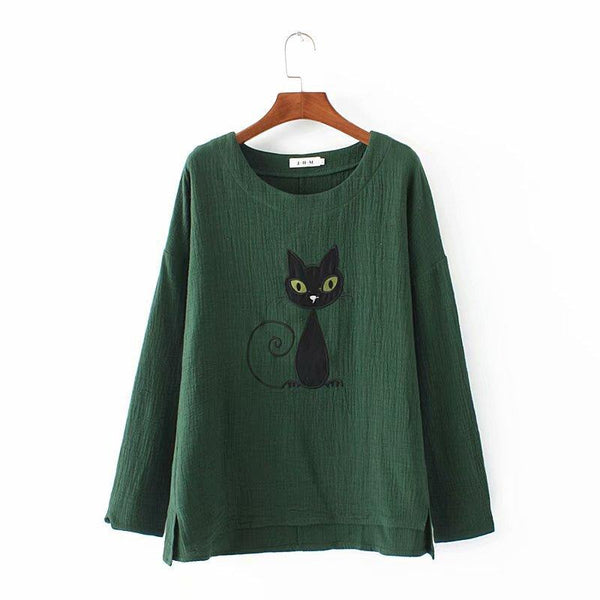 Loose Cartoon Embroidered Long-Sleeved T-Shirt