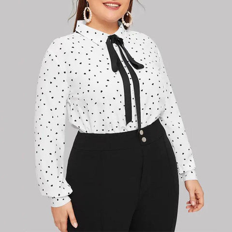 Love Printed Single-Breasted Lace Long-Sleeved Chiffon Shirt