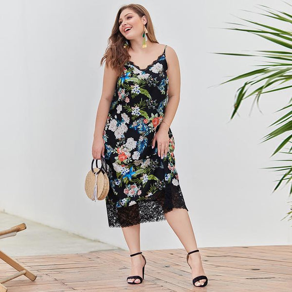 Plus Size V Neck Splice Lace Floral Print Long Sling Dresses