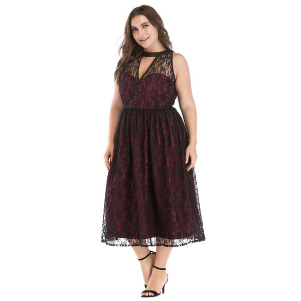 Plus-Size Sleeveless Hollow-Out High Waist Midi Lace Dress