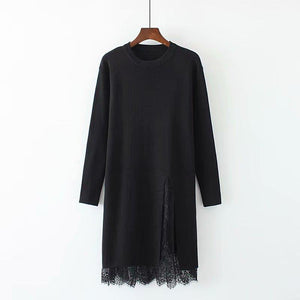 Pure Color Round-Necked Lace Splicing Long Knitted Sweater