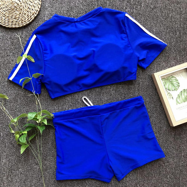Sexy Solid Color Half Sleeve Bikini Split Swimsuit